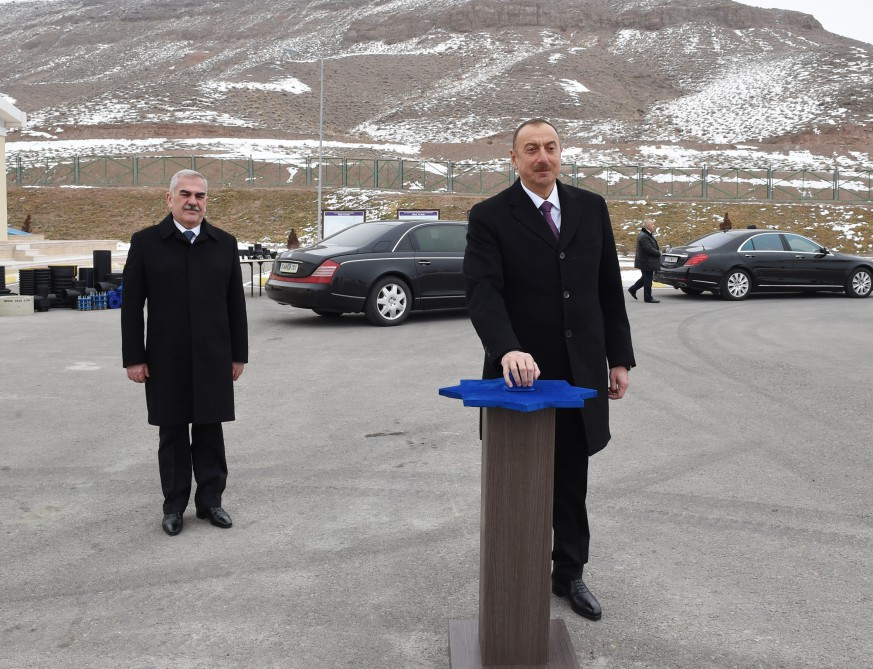 President Ilham Aliyev attended ceremony to launch drinking water supply and sewage systems in Julfa district center and surrounding villages