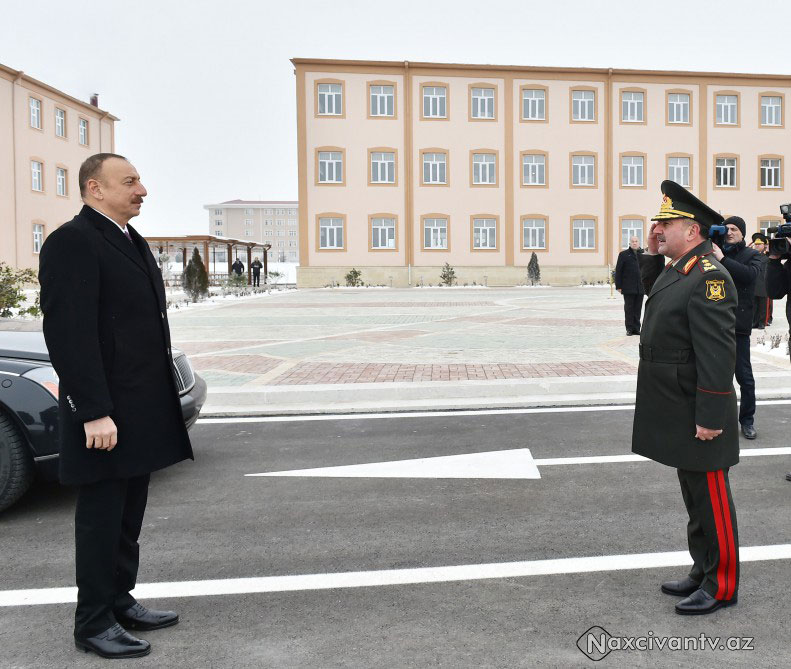 President Ilham Aliyev attended opening of soldier dormitory and military-household complex in military unit of Detached Combined Arms Army